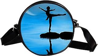 Coosun Umhängetasche für Kinder und Damen mit Reflexionsmotiv von Dancer, Wasserhimmel, Mond, runde Umhängetasche