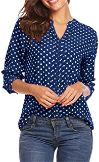 Women's V-Neck Polka Dot Buttoned 3/4 Sleeve Shirt Top, Women Button Down T Shirts Casual Curved Tunic Tops, Fashion Button Blouse Tunic T-Shirt