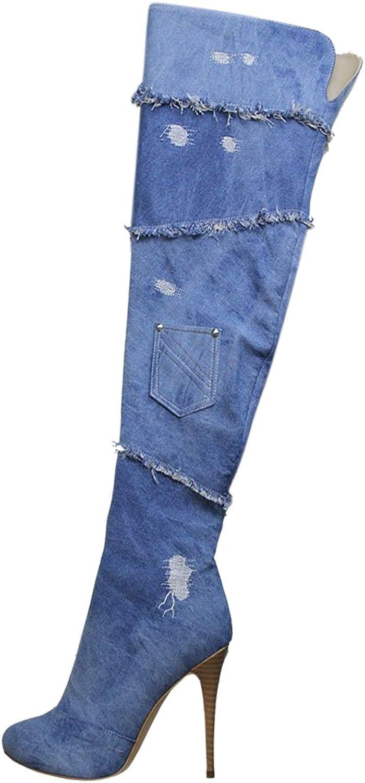 UMEXI Women's Sexy Jeans bluee Side Zipper Stilettos Heels Over The Knee High Boots