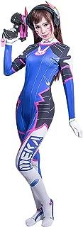DVa Costume,OW Cosplay Suit Hana Song Jumpsuit Rabbit Bodysuit for Girls
