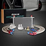 AN10-10AN 19 Row Universal Engine Aluminum Transmission Oil Cooler Kit + Oil Filter Relocation Kit