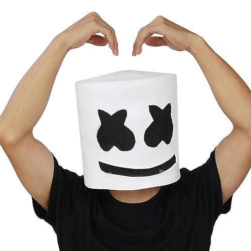 PartyCostume - DJ Marshmello Mask - Halloween Party Cosplay Props Latex Head Mask