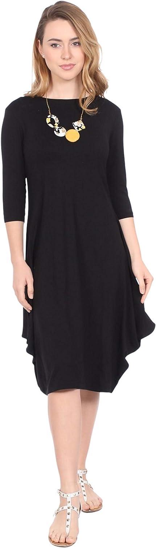 Kosher Casual Women's Modest Casual 3-4 Sleeve Flare and Drape Jersey Shift Midi Dress