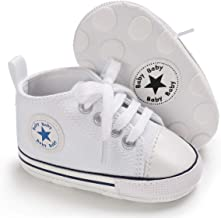 Tutoo Unisex بچه ها پسران دختران ستاره بالا بالا کتانی نرم ضد لغزش تنها نوزادان نوزاد اول Walkers بوم جین کفش