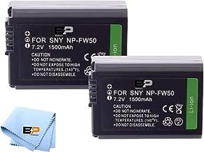 BP NP-FW50 2- Batteries for Sony A7 II, A6400, DSC-RX10 IV, DSC-RX10 III, DSC-RX10 II, Alpha 7, Alpha 7R, a7, a7R, A7s, A7s II, a3000, a5000, a6000, a6300, a6500 Digital Camera