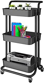 Rolling Cart, BEONE 3-Tier Utility Rolling Cart Multifunction Storage Service Cart with Handle and Lockable Wheels for Kit...