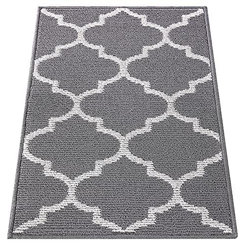 OLANLY Indoor Door Mat, 20x32, Non-Slip Absorbent Resist Dirt Entrance Rug, Machine Washable Low-Profile Inside Floor Mat Door Rugs for Entryway, Grey Trellis