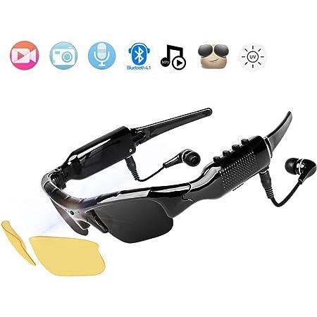 Bluetooth Lunettes De Soleil Cam/éra Vid/éo Lunettes De Soleil Portable Sports Camera 32GB 1080P HD Enregistreur Vid/éo avec Objectif Polaris/é Et Casque pour lescalade en Plein Air
