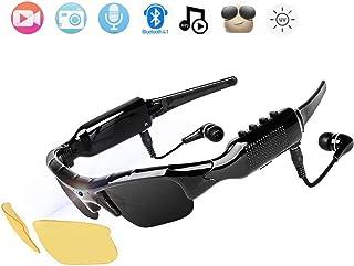 NewZexi Wearable Bluetooth Gafas de Sol 1080p Cámara Gafas Mini DV Auricular Bluetooth Manoslibres Gafas de Conducción Deporte Ciclismo Gafas de Sol con Intercambiables Lentes de Vision Nocturna