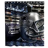 Custom Dallas Cowboys Shower Curtain American Football Helmat Modern Athlete Stadium Theme Fabric Kids Bathroom Home Decor Sets with Hooks Waterproof Washable 72 x 72 inches Grey Black and White