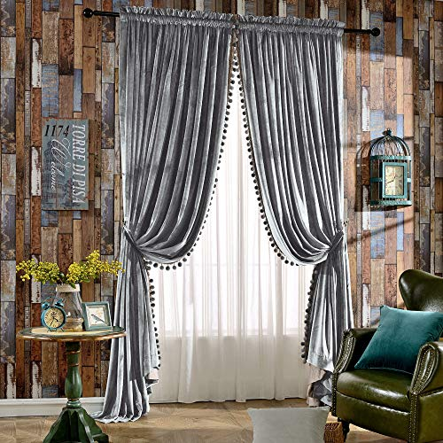 Melodieux Luxury Pom Poms Velvet Blackout Lined Curtains Thermal Insulated Rod Pocket Drapes for Bedroom Living Room, 52x84 Inch, Grey (1 Pair)