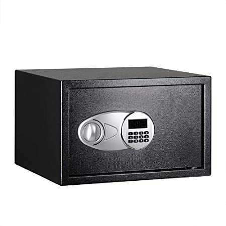 Amazon Basics Steel, Security Safe Lock Box, Black - 1.2 Cubic Feet