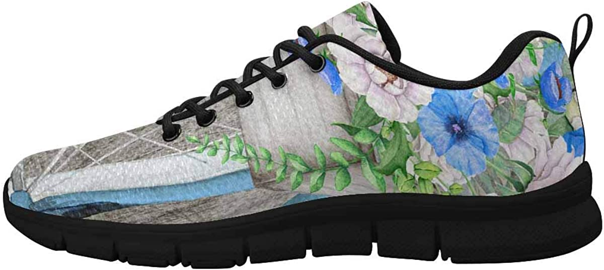 INTERESTPRINT Hello Spring Vintage Bicycle Women's Breathable Non Slip Sneakers