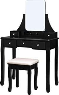 black and silver dressing table