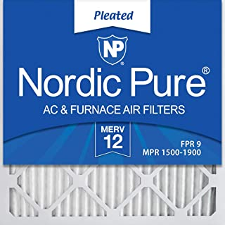 Nordic Pure 16x16x1 MERV 12 Pleated AC Furnace Air Filters, 6 Pack, 16x16x1M12-6,