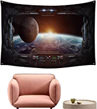 alsohome Dorm Tapestry Wall Hanging Rectangle Tapestry for Living Room Window View of Planet Earth from A Space Station ' D Rendering' 'Elements Furnished 84