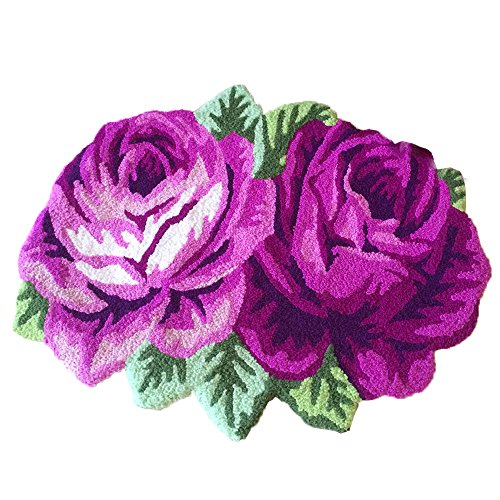 yazi 2 Roses Carpet Floor Mat Purple Color Printing Rug Flower Rug Kitchen Area Rugs Modern Living Room Rugs 27.5x23.6