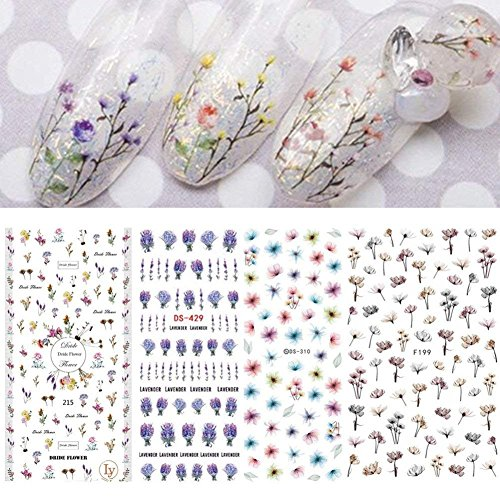 4 sheet Fading Flower Water Decals Ink Painting Nail Transfer Decals Water Color Nail Art Water Seal Water Slide
