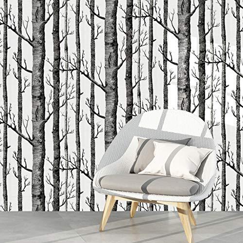 UYT Home Decoration Schwarz-Weiß-Wandaufkleber, Birch Forest Selbstklebende 3D-Tapete Für Wohnzimmer Schlafzimmer Wandaufkleber Vinyl Kontaktpapier Schwarz-Weiß-Holz-Wandbild 6m * 45cm