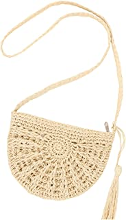 Andear Womens Casual Straw Woven Bag Beach Vacation Shoulder Bag Travel Crossbody Bag with Tassels