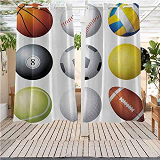 DONEECKL Sports Outdoor Curtain Panel for Patio Diversified Sport Balls Objects in Diamond or Circle Shape Recreational Illustration Gazebo W72 x L84 inch Multicolor
