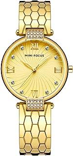 Women's Stainless Steel Watch, Women's Crystal Watch, MINI FOCUS Leisure Luxury Waterproof Watch. 33MM, Suitable for Most Women.