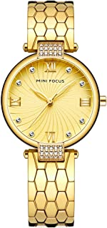 Women's Stainless Steel Watch, Women's Crystal Watch, MINI FOCUS Leisure Luxury Waterproof Watch. 33MM, Suitable for Most Women.