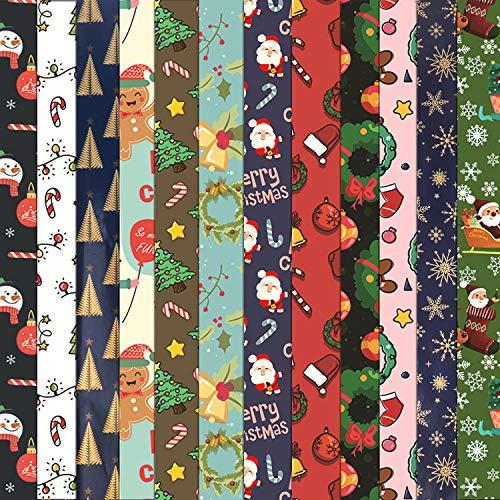 HOWAF 12 Blätter Weihnachtspapier, Geschenkpapier, jedes Blatt 74x 51 cm, 12 Weihnachts Motive - Schneemann, Weihnachtsmann, Weihnachtsbaum, Rentier