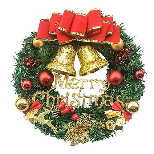 UDYR 13 Inch Pine Artificial Christmas Wreath, Garland with Bowknot, Bells, Deer, Red Berries, Flower Gifts for Christmas Party Decor, Front Door Wreath (Red)