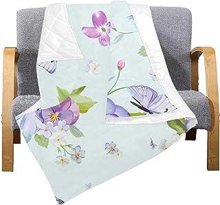 Enhusk Edredón Ligero Throw Blooming Flower Butterfly Beauty Microfiber Friends Quilt Blanket 70x80 Inch Multicolor Decorativo para sofá Cama Sofá