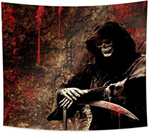 Renaiss 70.9x63 Inches Skull Tapestry Wizard Dead Grim Reaper Blood Sickle Skeleton Retro Blood Wall Hippie Scared Large Tapestry Wall Hanging Gothic Style Art Blanket for Men Dorm Bedroom Home Decor