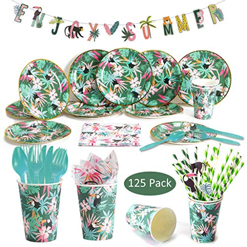 DreamJ Hawaiian Luau - Set da tavola , confezione da 125 pezzi, con piatti, striscione, forchette, bicchieri e tovaglioli, perfetto per compleanni e estate Luau Serve 12