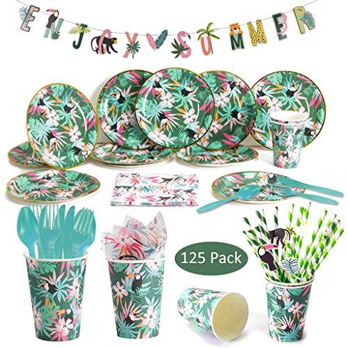 125Pcs Vaisselle Jetable Vert Jungle Party - Assiette Carton Cuillère Gobelet Paille Serviette en Papier Bannière pour Fête d'été Tropicale Hawaiian Luau Décoration d'anniversaire Baby Shower