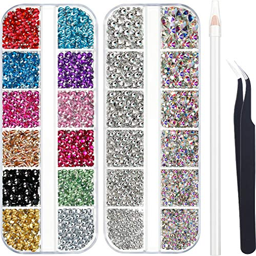4488 Pieces Nail Art Rhinestones Crystal Flatback Rhinestones with Rhinestone Picker Pick Up Tweezers for Nails Art Clothes Shoes Bags Decoration (Colorful, AB Color and Clear)
