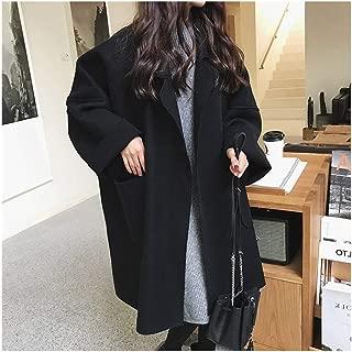 LUKEEXIN Coat Female 2019 Autumn Fashion Women Coat Long Style Pocket Woman's Brown Woolen Coat Ladies Casual Loose Black Oversize Coat