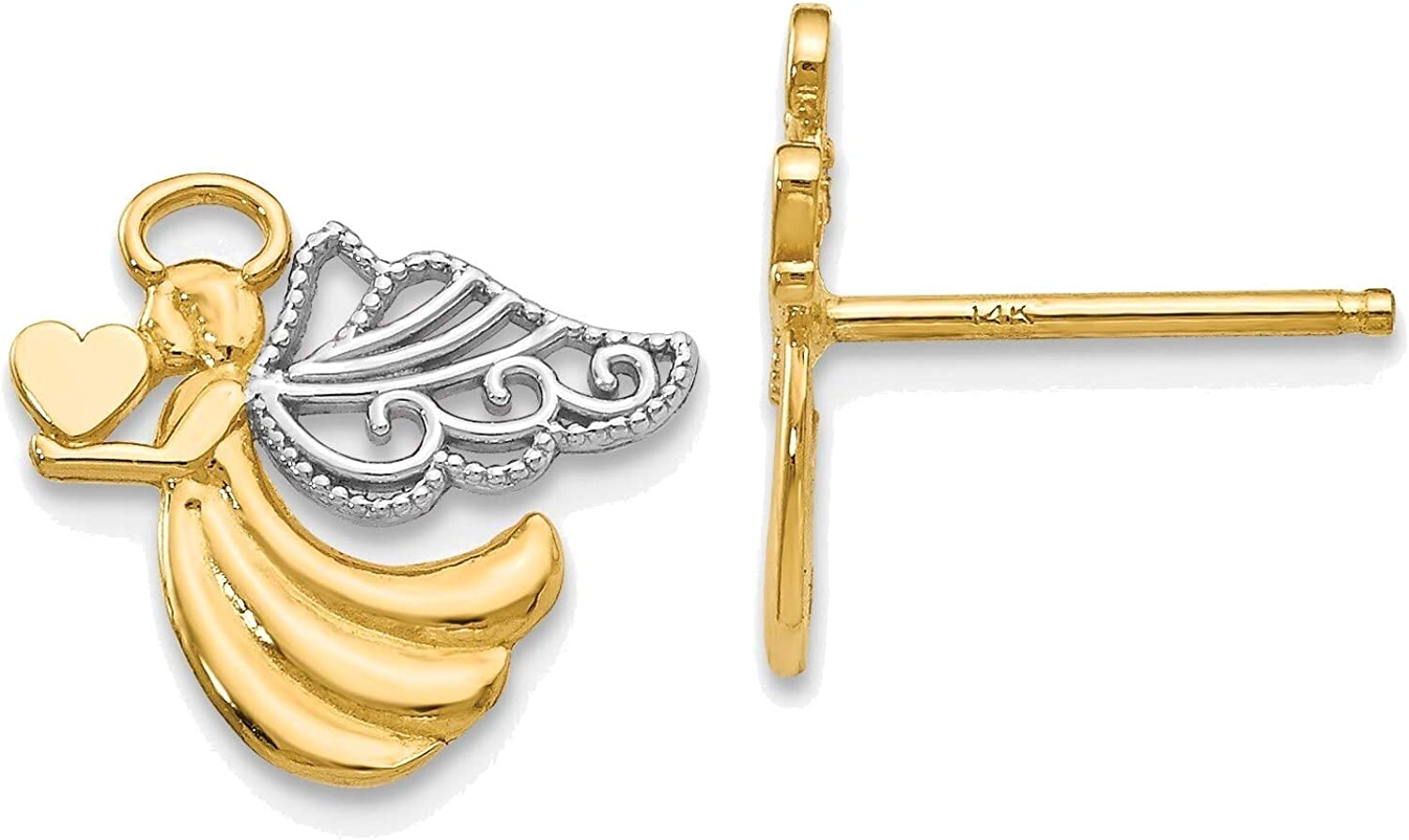 Angel With Heart Post Earrings in 14K Yellow Gold with Rhodium Plating