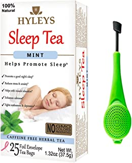 Hyleys Sleep Mint Herbal Tea - All Natural Sleep and Balm Collection for Relaxation with 25 foil Envelope Tea Bags for Happy Sleep, Maintain Health and Immunity with a Tea Infuser