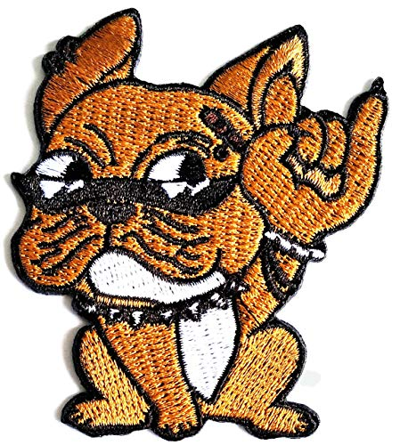Cute French Bulldog Pitbull Punk Rock and Roll Cartoon Embroidered Iron on Patch Logo Vest Jacket Cap Hoodie Backpack Patches Arts Crafts DIY Embroidery Sewing for Kids Children
