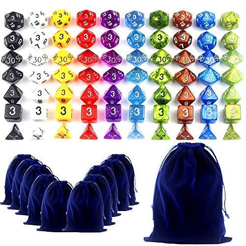 Goodlucky365 70 Dados Polidricos-Serie Completa de 7 Dados en 10 Colores-70 Dados en 10 Pequeas Bolsas de Dados-Grande Bolsa de Terciopelo Gratis Para Juego de Mesa Dungeons and Dragons Dado