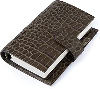 Moterm Leather Personal Planner Binder - Personal Size Croc Print Organiser Planner, 7.5 x 5.3 Inches 6 Rings Binder Planner with Lined Refills (Personal Size, Coffee)