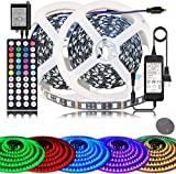 LED Strip Lights BIHRTC RGB 600leds 32.8ft 10M Color Changing 5050 Flexible LED Rope Lighting LED Strip Lights Kit with 44 Keys IR Remote Controller and UL Power Supply for Bedroom Room Home Kitchen