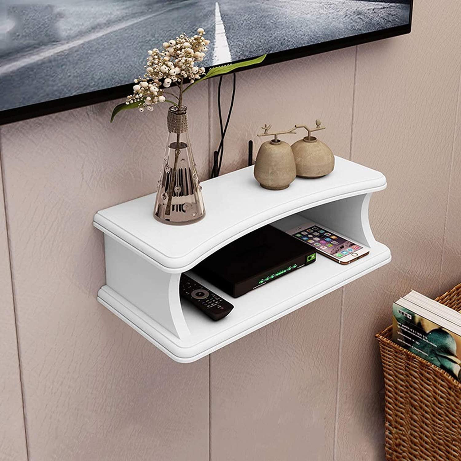 Wall Shelf Floating Shelf Wall-Mounted TV Cabinet Router Set Top Box TV Background Wall Decoration Shelf TV Console (color   White)