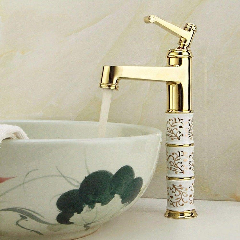 Rmckuva Bathroom Sink Taps Bathroom Faucet Modern Single Handle Faucet Brass Mixer Ceramic gold Mirror Effect