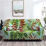 WXQY Funda de sofá elástica con Hoja de Flor Tropical, Funda de sofá de Esquina en Forma de L, Funda de sofá para el hogar, Antideslizante, Envuelta herméticamente, A5 4 plazas