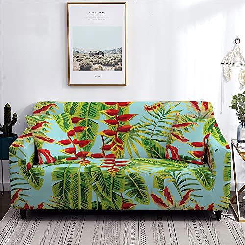 WXQY Funda de sofá elástica de Hoja de Flor Tropical en Forma de L Funda de sofá de Esquina para el hogar Funda de sofá Envuelta herméticamente Antideslizante A5 3 plazas