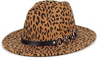 Women Gold Belt Buckle Wool Felt Fedora Hat Winter Fashion Dress Panama Hat