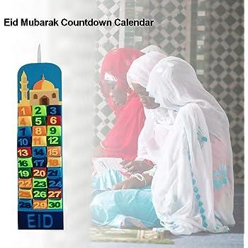 Calendrier Ramadan Eid Mubarak Suspendus Calendrier de Compte /à rebours en Feutre pour Enfants Eid Cadeaux d/écorations de Ramadan Yunt-11 Calendrier de lavent 2020 d/écorations de Ramadan