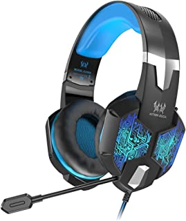 VersionTECH. Gaming Headset for Xbox One/PS4 Controller, PC, Wired Surround Sound Gaming Headphones with Noise Cancelling Mic, RGB LED Backlit for Nintendo Switch/3DS, Mac, Destop Computer Games -Blue