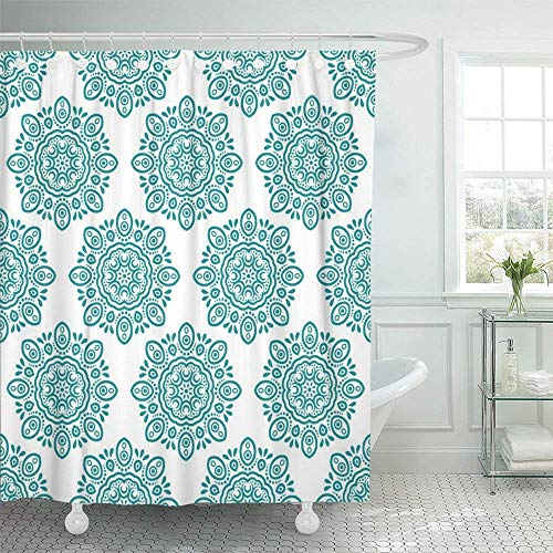 Decoración de Shower Curtain White Tropical Leaves of Monstera Philodendron and Palm...