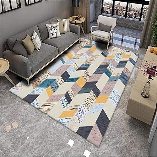 rug for living room Living room carpet rice color geometric striped retro minimalist carpet anti-mites Beige large rug 50x80cm small carpet 1ft 7.7''X2ft 7.5''